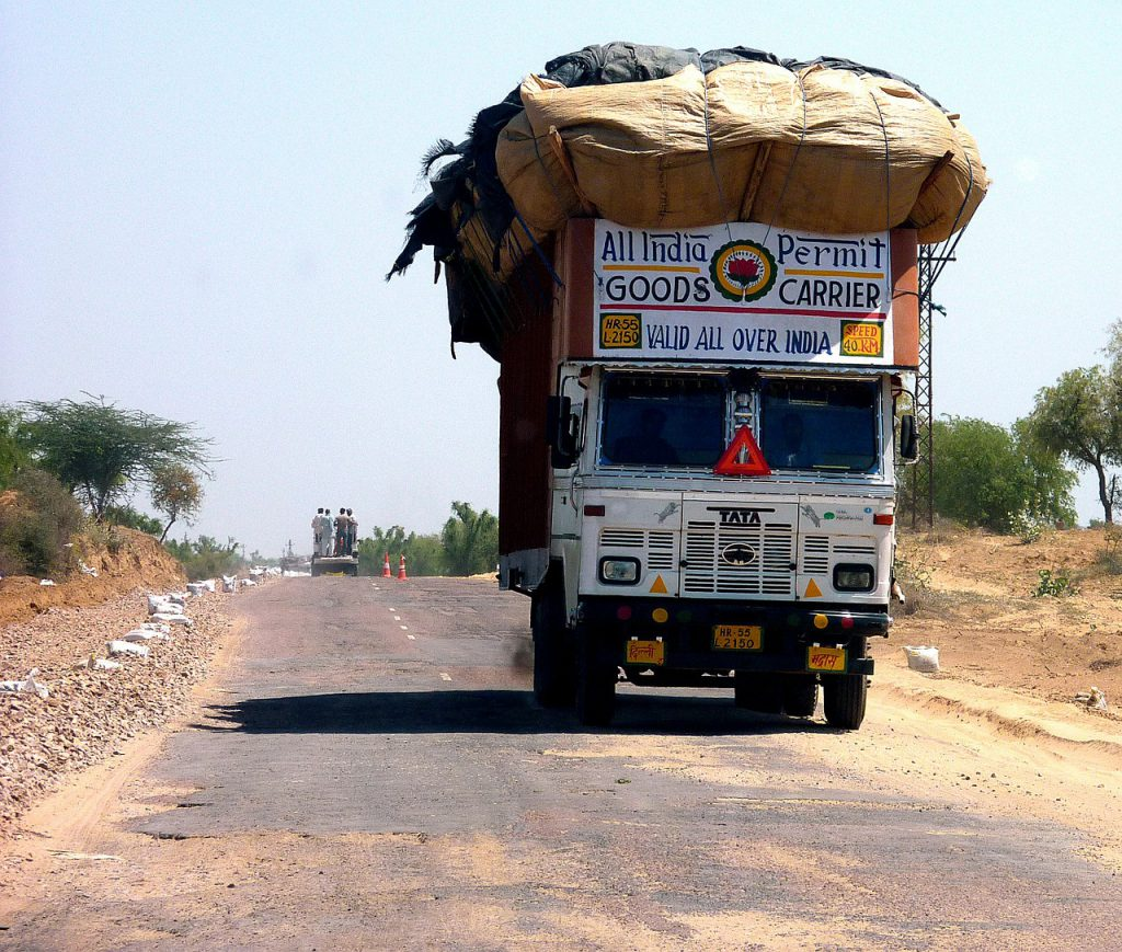 overloaded truck Indian road