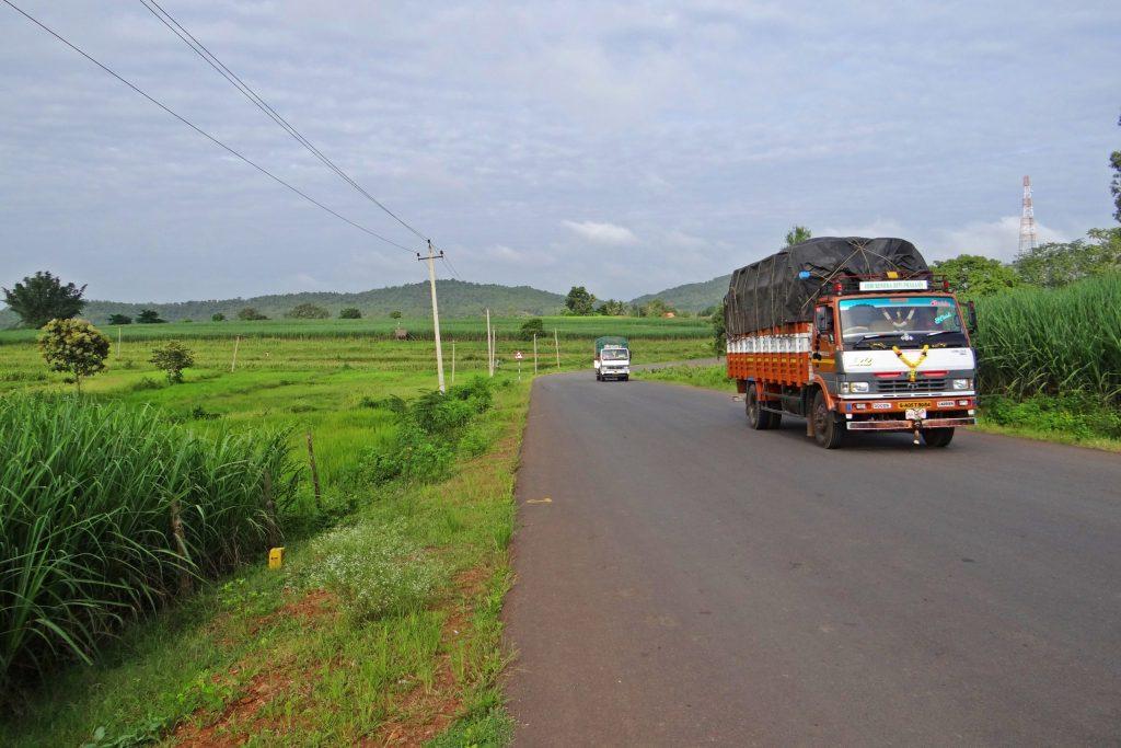 trucks on Indian road