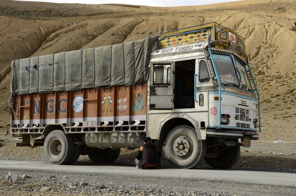 truck parked broken road